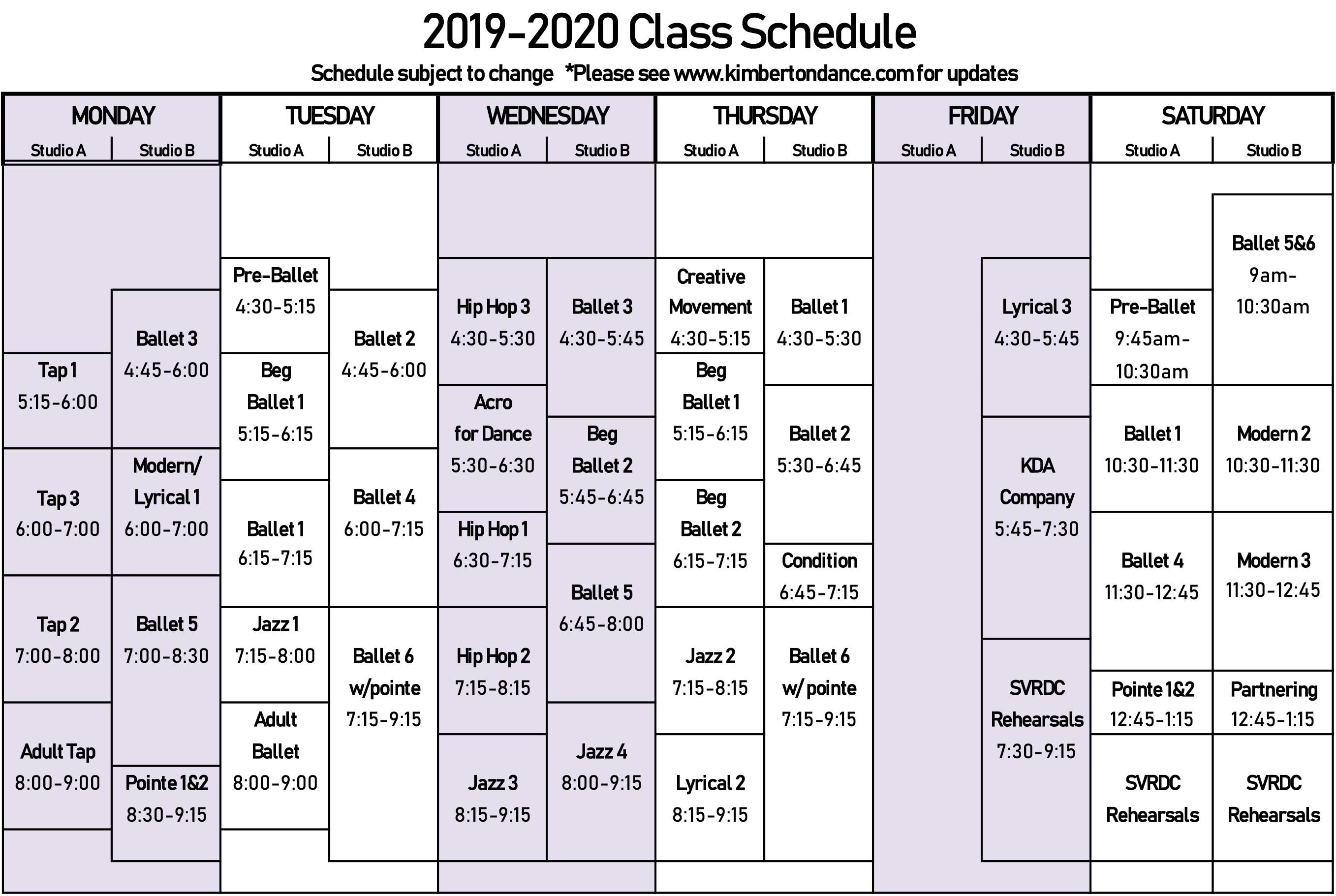 Spring 2020 Schedule Schedule: Fall 2019 Spring 2020 Session (NEW!)